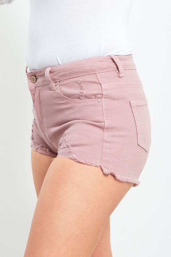 Grey Ripped Frayed Hem Shorts