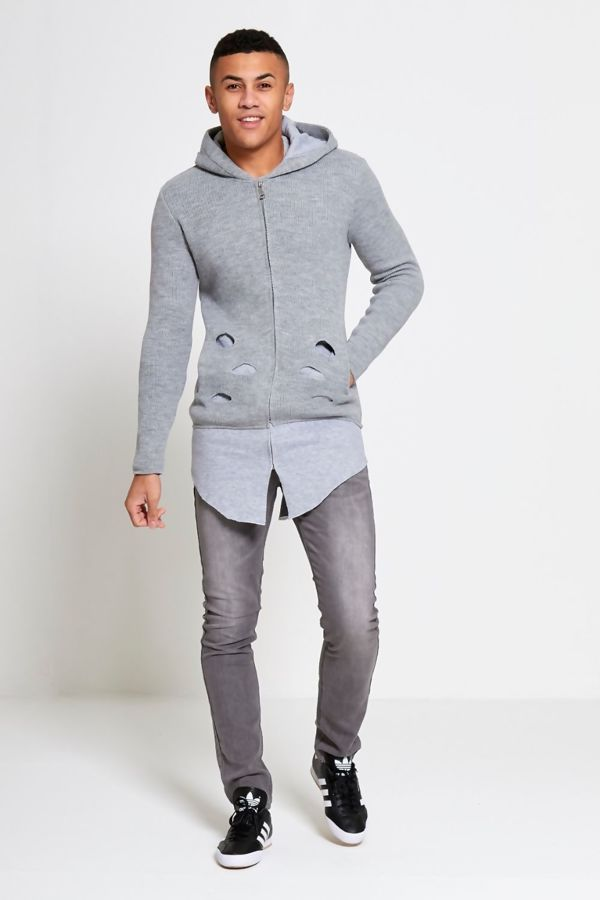Grey Ripped Knitted Longline Hooded Cardigan