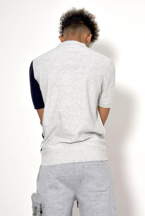 Grey Robinson Striped Short Sleeve Jumper