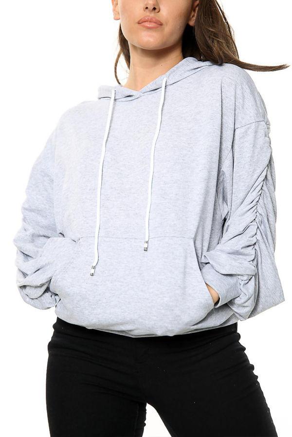 Grey Ruched Balloon Sleeve Hoodie