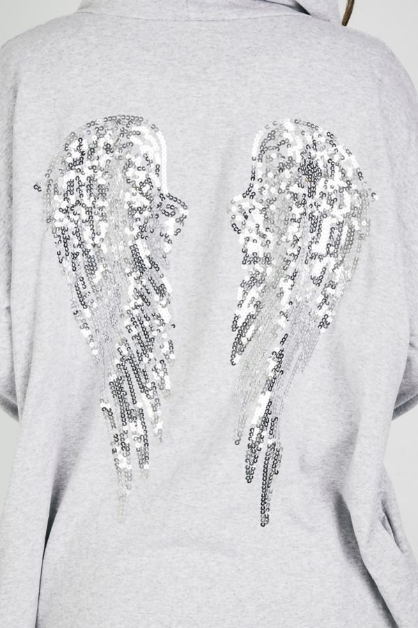 Grey Sequin Angel Wing Hooded Cardigan