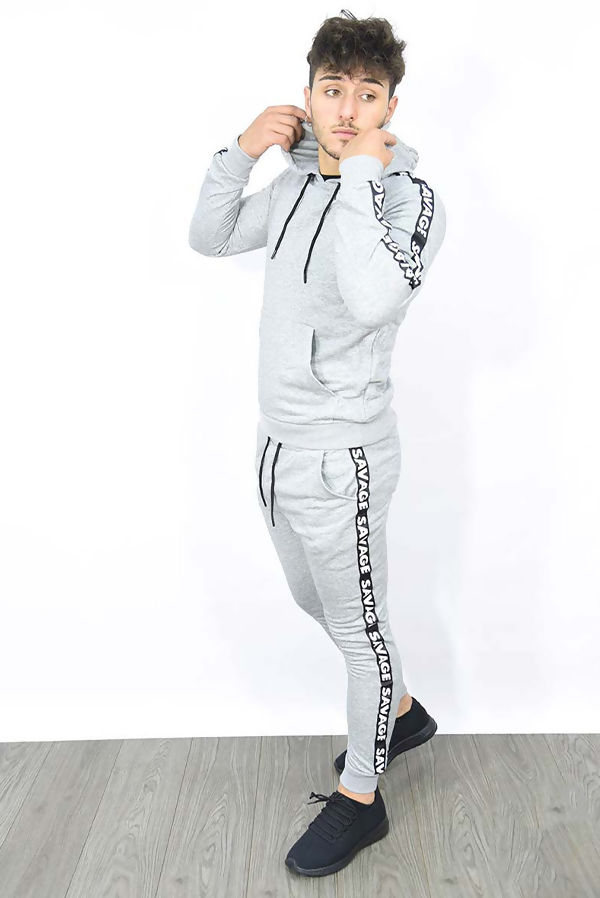 Grey Skinny Fit Hooded Tracksuit With Savage Band