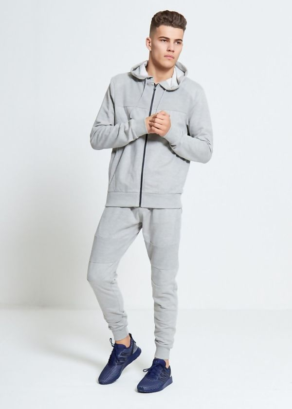 Grey Skinny Fit Panel Tracksuit