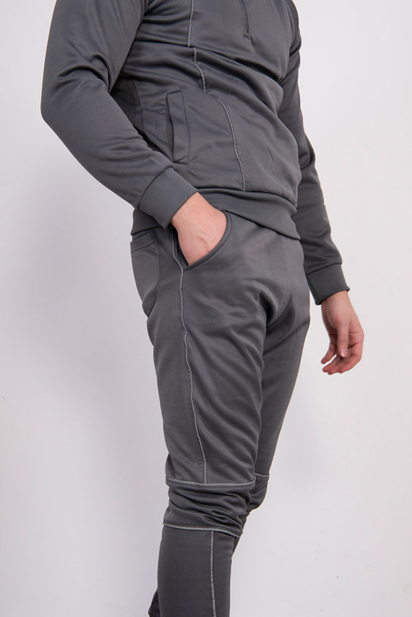 Grey Skinny Fit Pullover Tracksuit With Reflective Piping