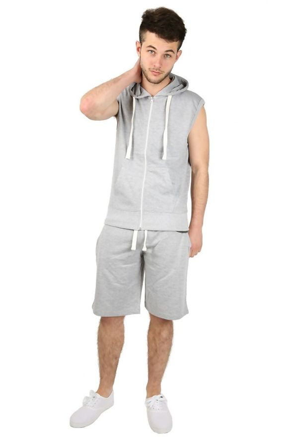 Grey Sleeveless Hood Short Set