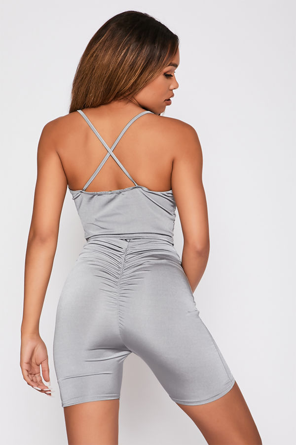 Grey Slinky Ruched Crop Top And Shorts Co-Ord