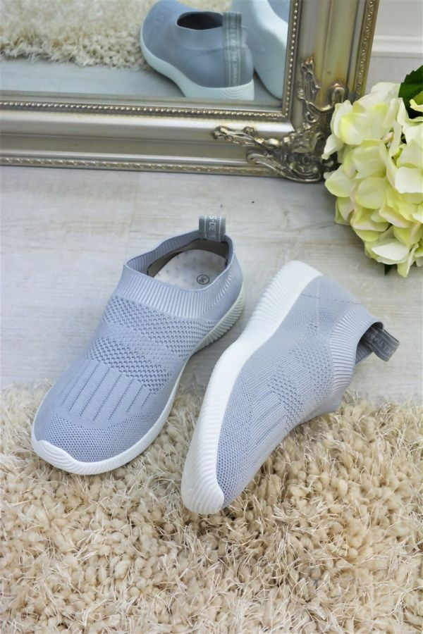 Grey Slip On Chunky Sole Trainers