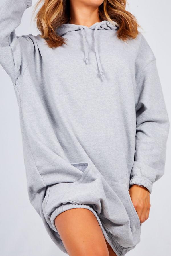 Grey Slouchy Pocket Hooded Sweat Dress