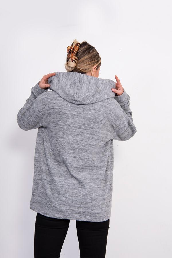 Grey Soft Sequinned NY Hooded Sweatshirt
