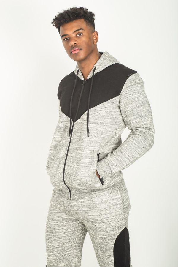 Grey Space Dye Spliced Panel Skinny Fit Tracksuit