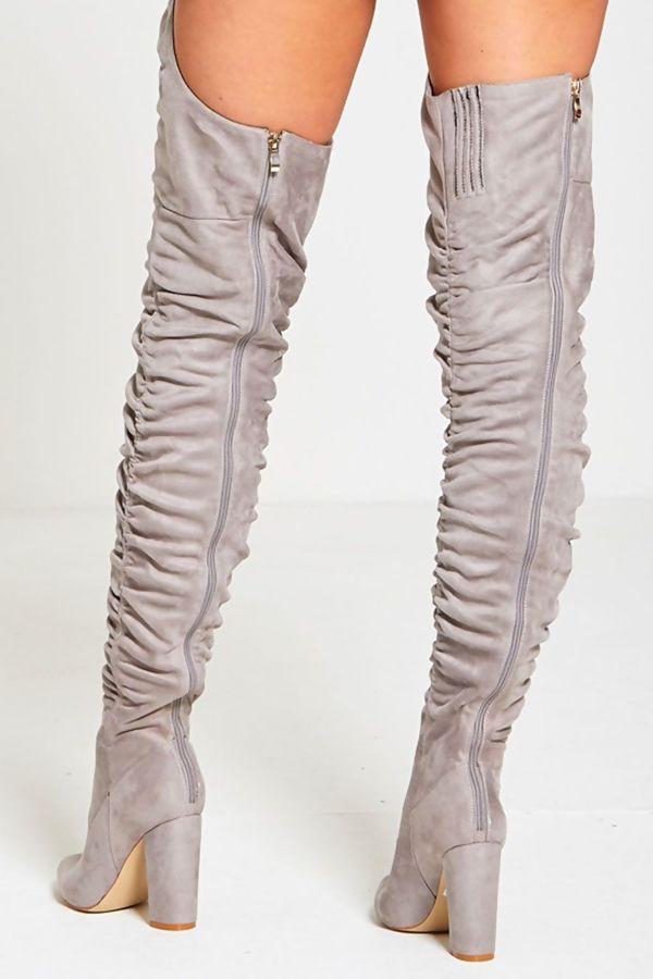 Grey Suede Belt Thigh High Boots