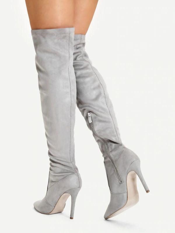 Grey Suede Knee High Pointed Stilettos Heels Boots