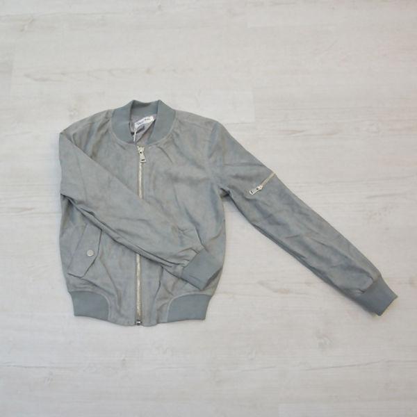 Grey Suede Zip Up Bomber Jacket