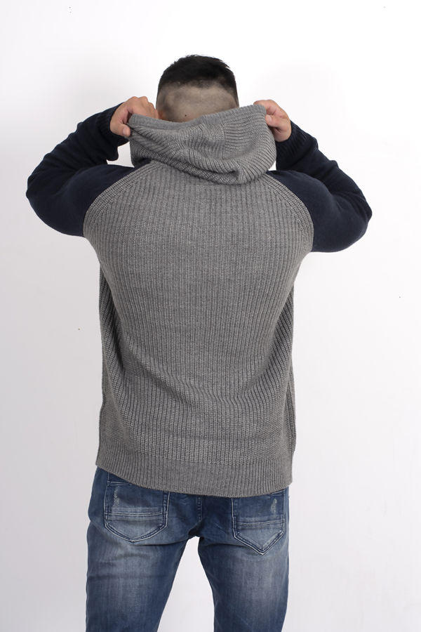Grey Two-Tone Hooded Knitted Jumper