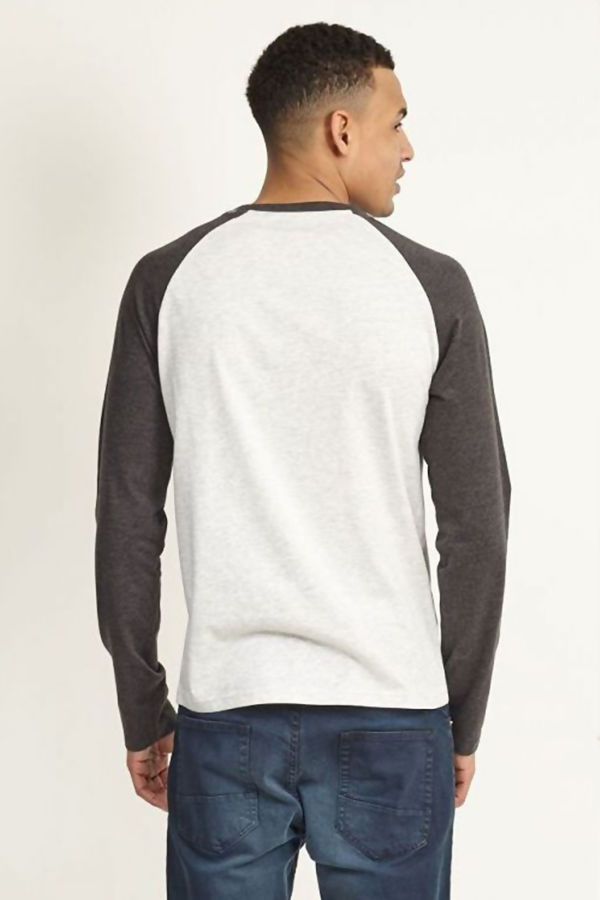 Grey Two-Tone Raglan Long Sleeve T-Shirt