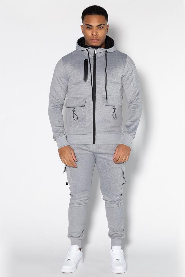 Grey Utility Pockets Skinny Tracksuit