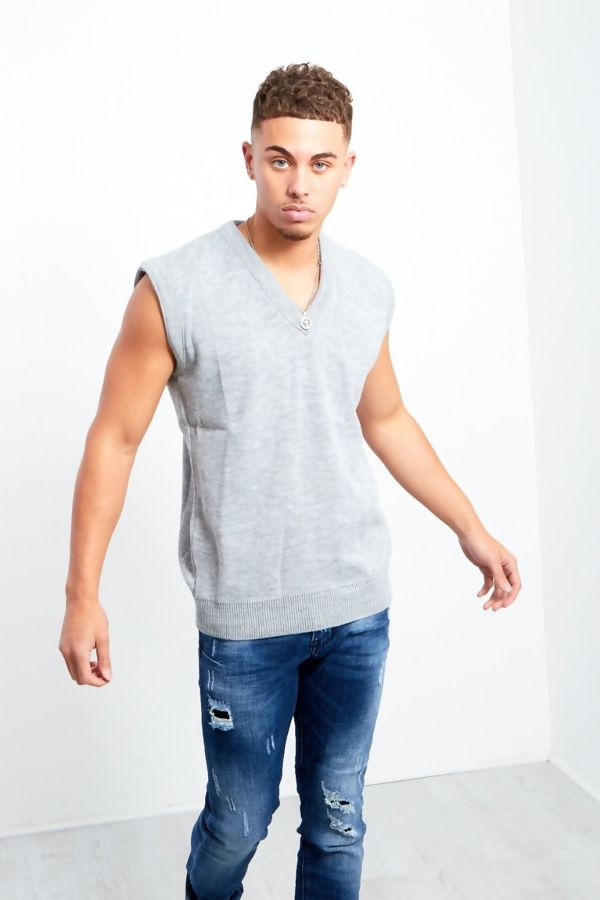 Grey V-Neck Sleeveless Knitted Jumper