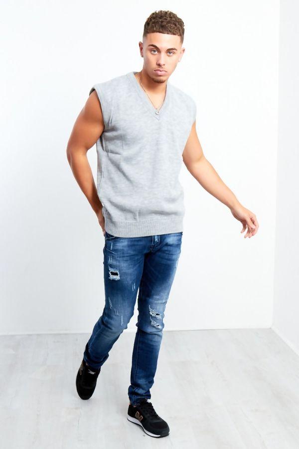 Grey V-Neck Sleeveless Knitted Jumper