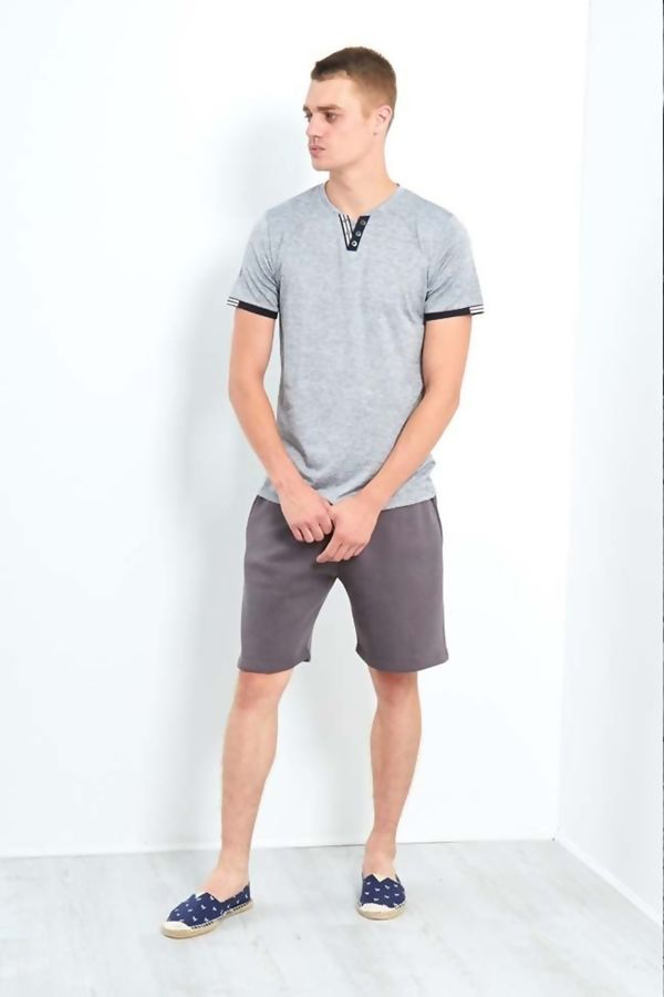 Grey V Retro Stripe T-Shirt
