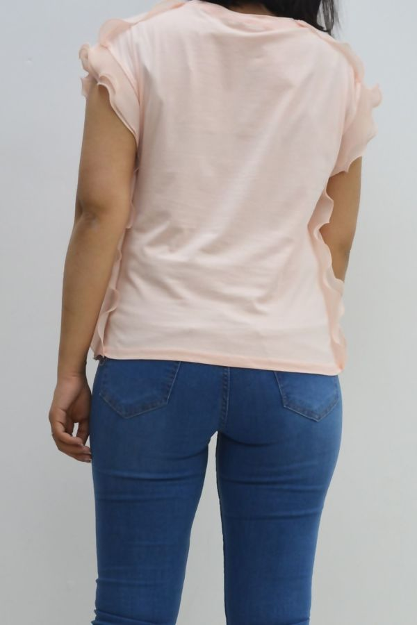 Grey Vegas Baby Ruffle Sleeve T-shirt