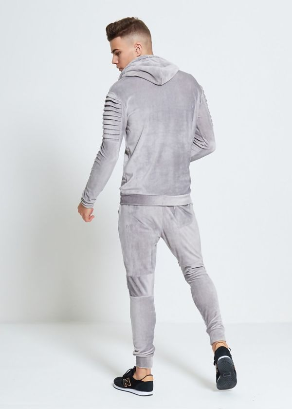 Grey Velvet Biker Ribbed Padding Skinny Fit Tracksuit