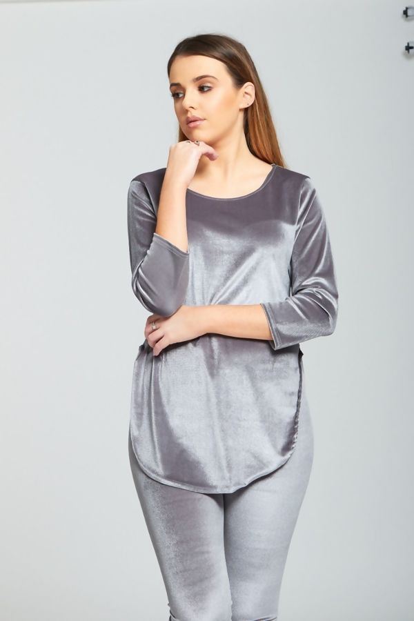 Grey Velvet Look Loungewear set