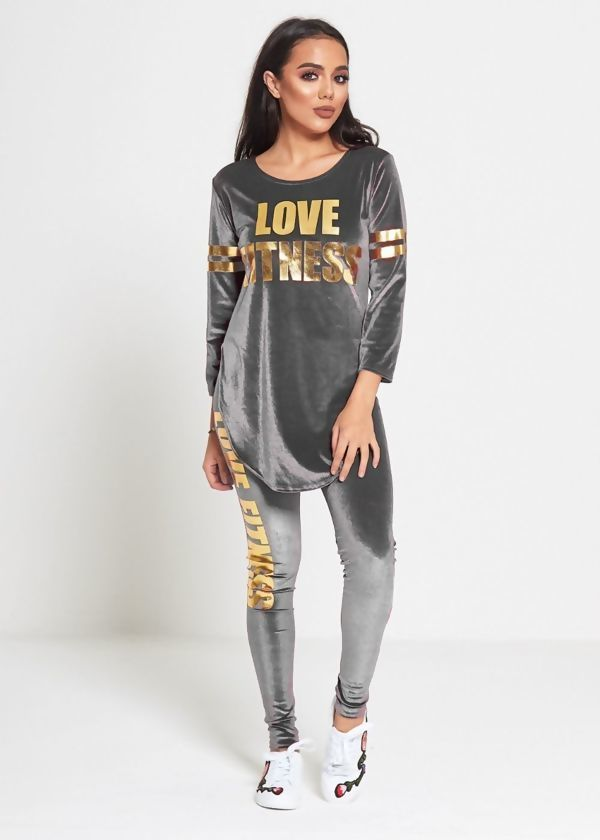 Plus Size Grey Love Fitness Suede Tracksuit