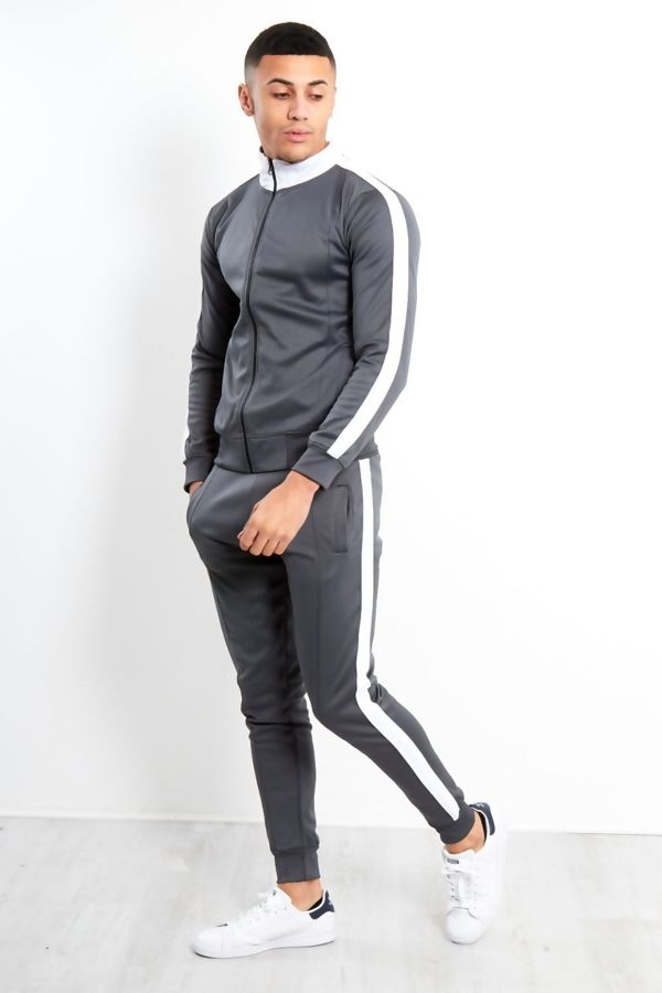 Grey White Tape Funnel Skinny Fit Tracksuit