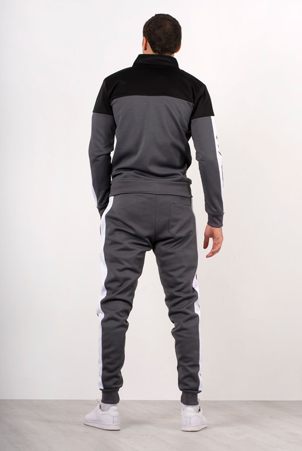 Grey With Black Panel Funnel Skinny Tracksuit