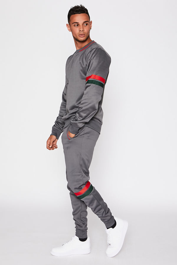 Grey With Red & Green Striped Crew Neck Tracksuit
