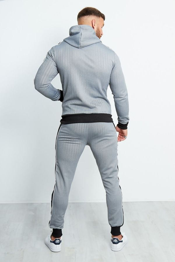 Grey Zig Zag Zip Through Tracksuit With Velvet Stripes