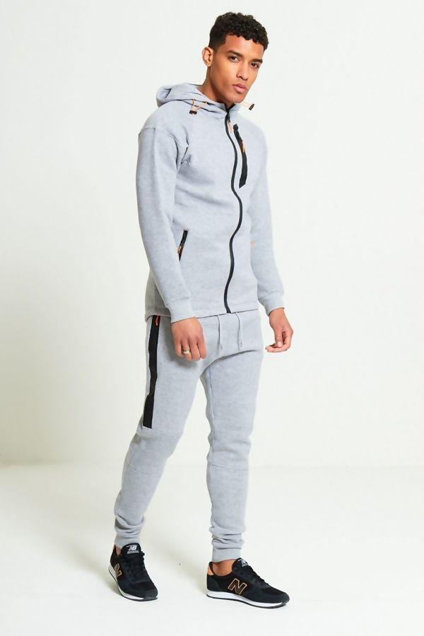 Grey Zip Detail Fleece Hooded Skinny Tracksuit