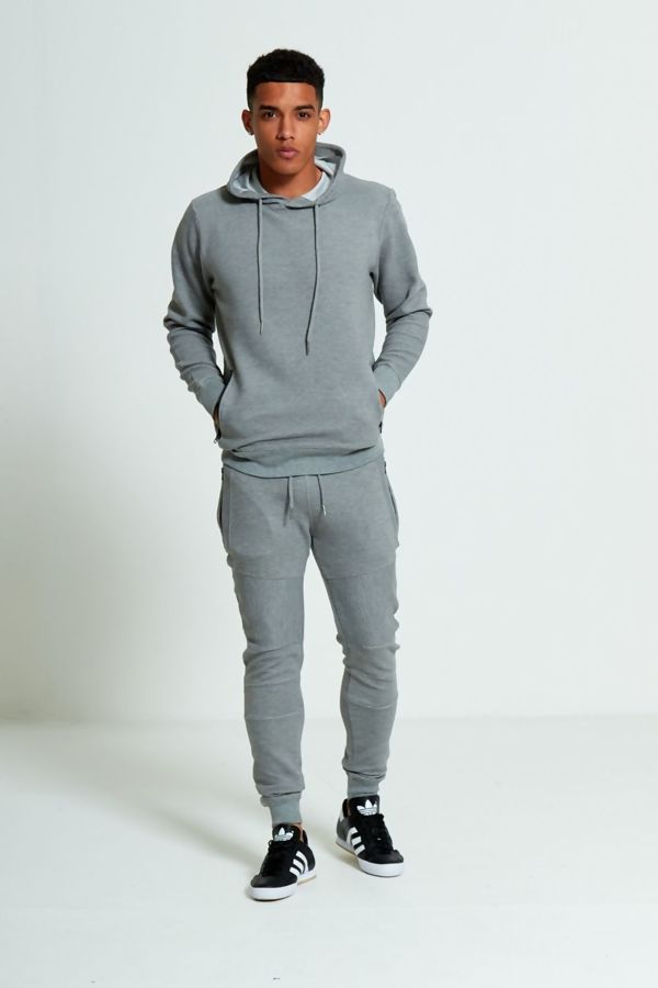 Grey Zipped Pockets Ribbed Tracksuit