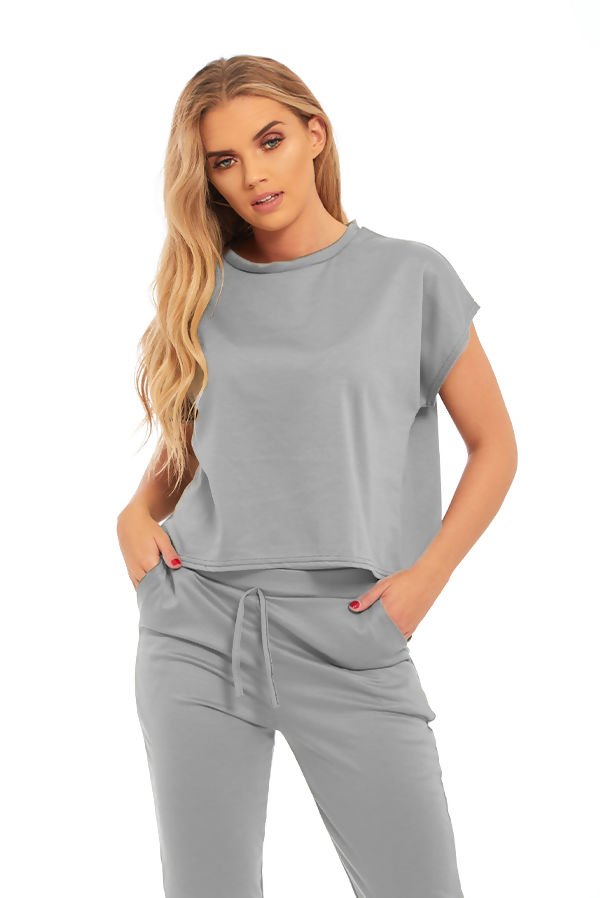 Grey Block Color Crop Top Set