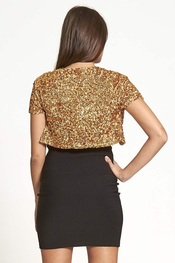 Gold Sequin Party Shrug