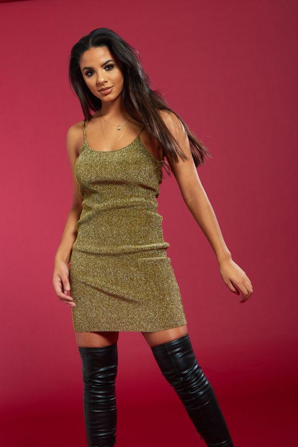 Gold Sparkling Metallic Ribbed Spaghetti Dress