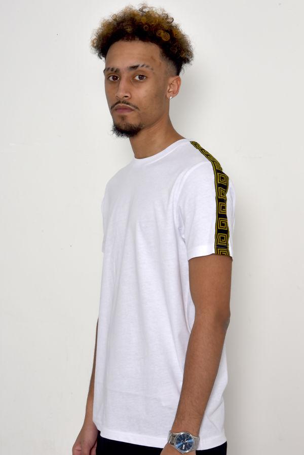 White Greek Diamond Striped T-Shirt