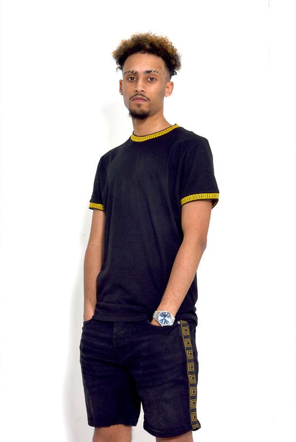 Black Greek Diamond Taped T-Shirt