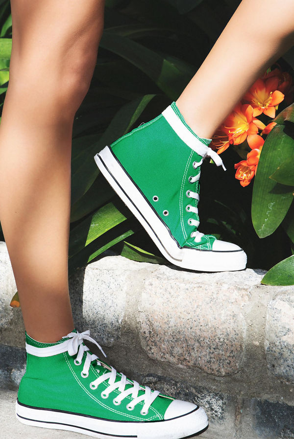 Green High Top Canvas Trainers