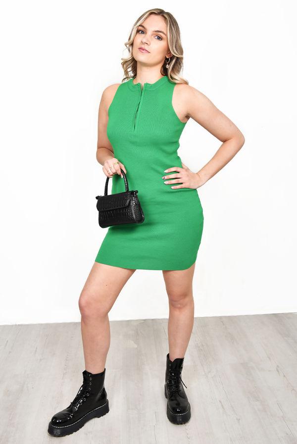 Green Sleeveless Zip Bodycon Dress