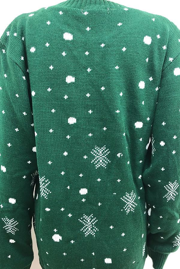 Green Snowflake Reindeer Christmas Jumper