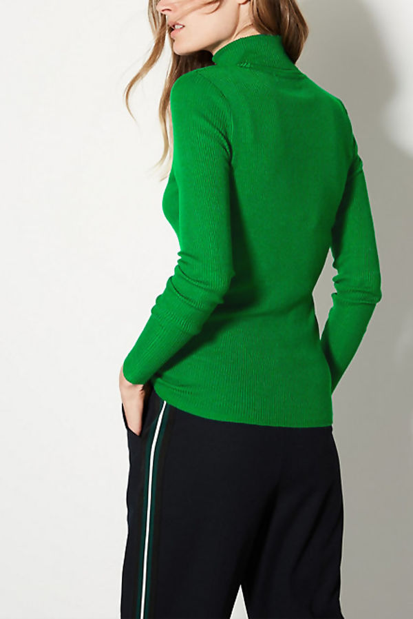Green Turtle Neck Ribbed Top