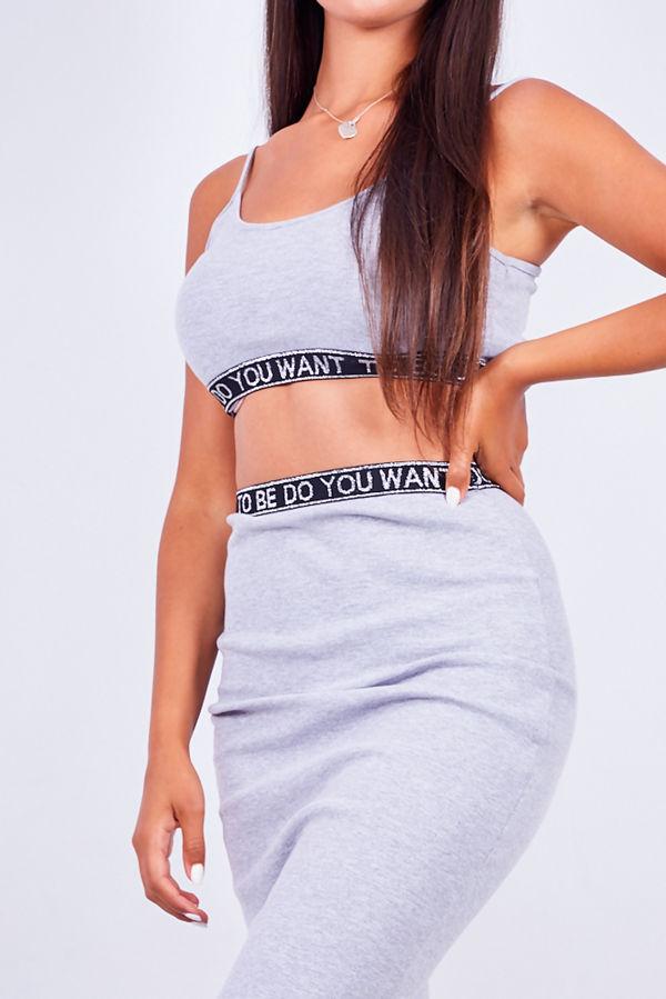 Grey Logo Trim Ribbed Crop Top And Skirt Set