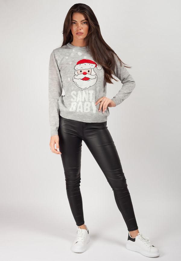 Grey 3D Light Up Santa Baby Christmas Jumper