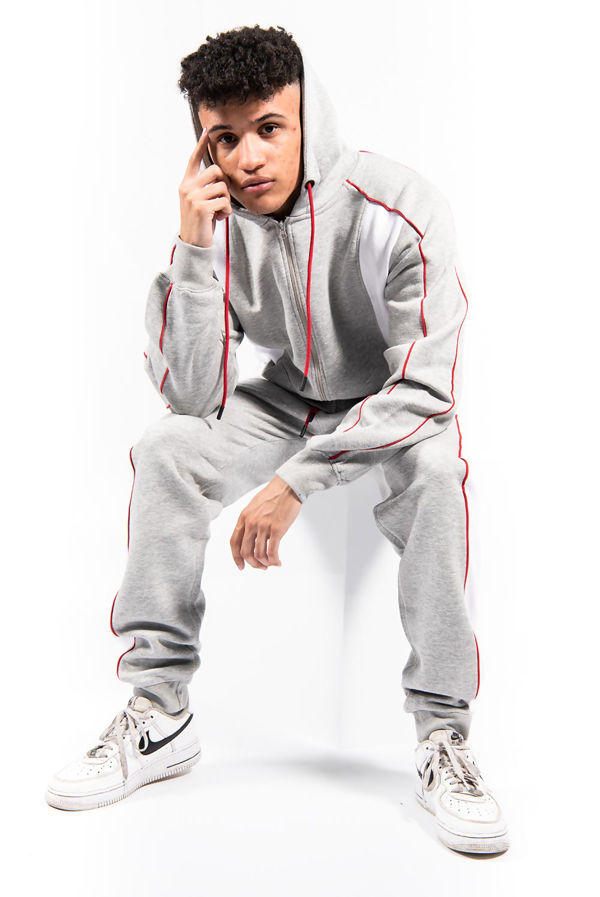 Grey And White Colour Blocked Zip Through Tracksuit