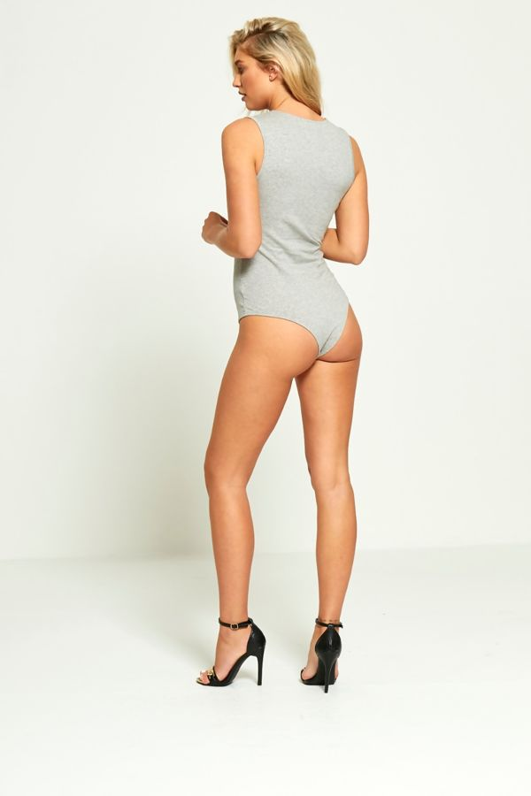 Grey Chest Silver Loop Sleeveless Bodysuit