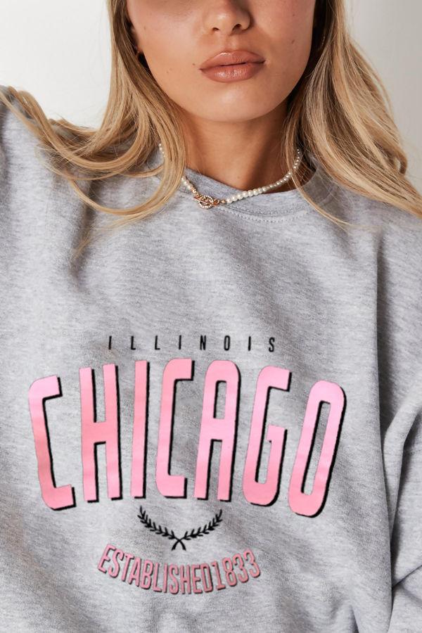 Grey Chicago Oversized Sweatshirt