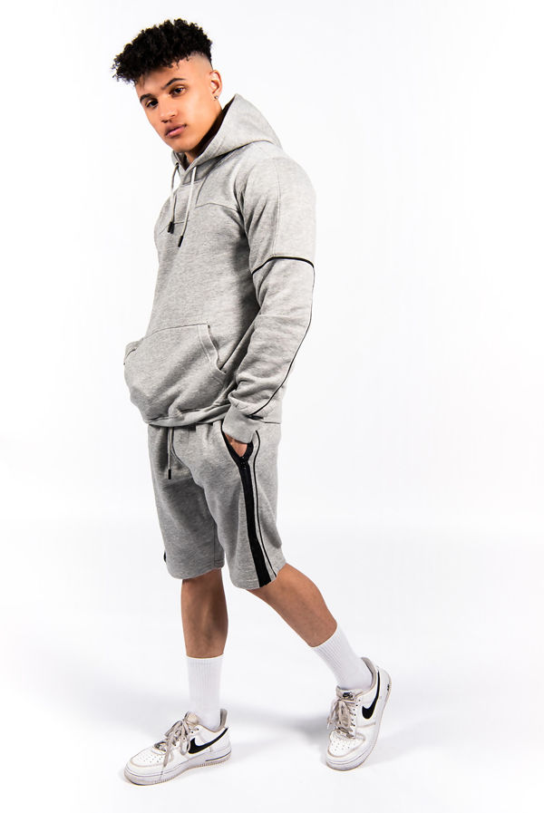 Grey Contrast Zip Piped Hoodie And Short Set