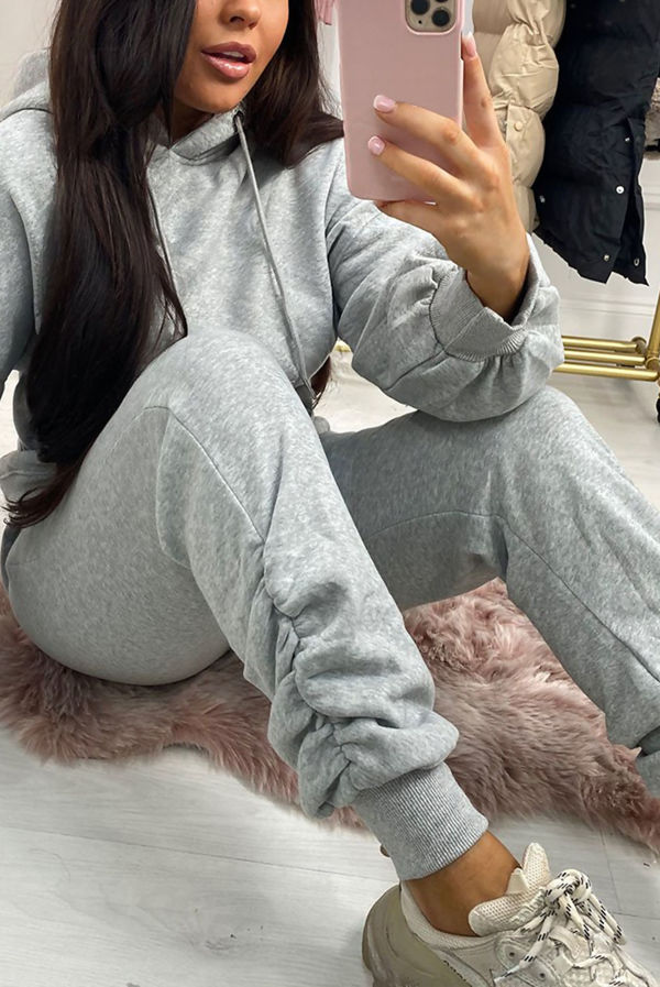 Grey Fleece Lined Ruched Ankle Joggers