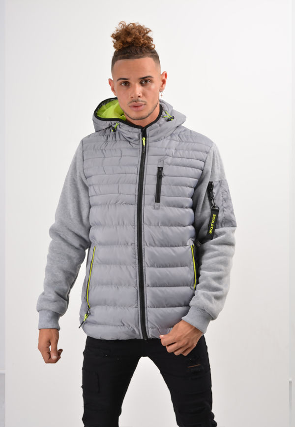 Grey Fleece Sleeve Puffer Jacket